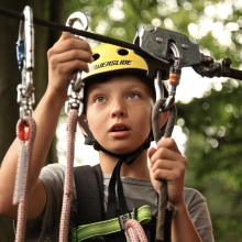 boy with zip line